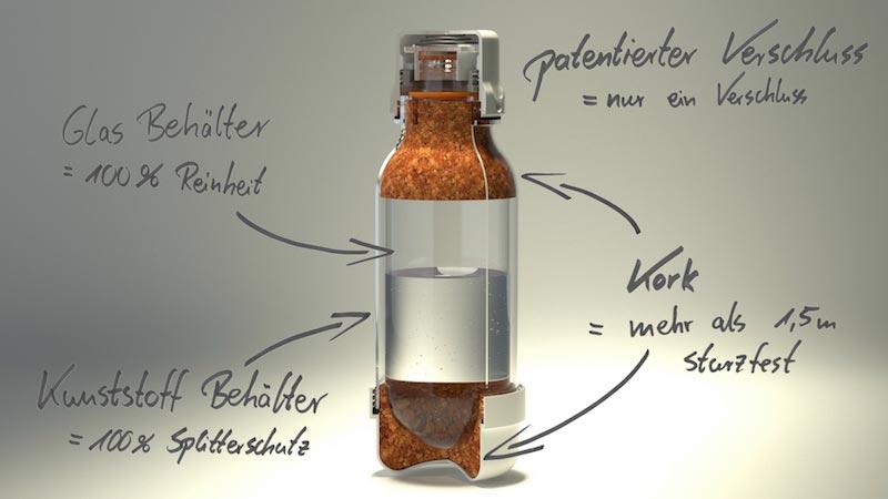 twin bottle flasche glas sicherheit