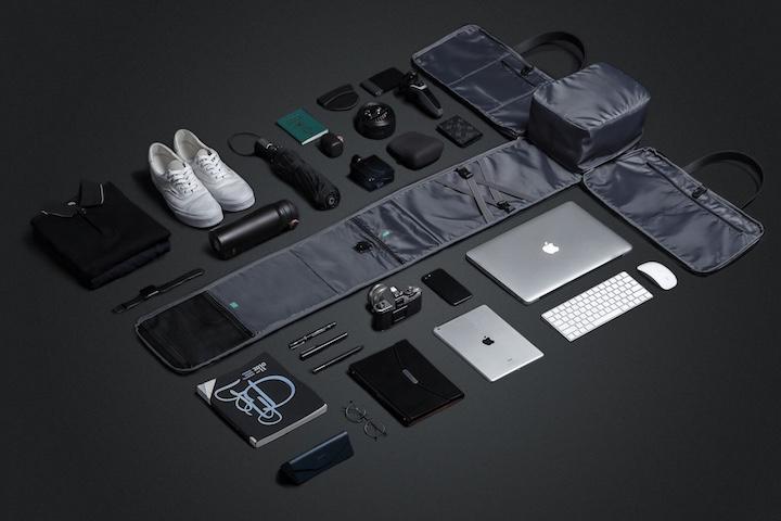 FlexPack mit Macbook und Tastatur und Zubehör