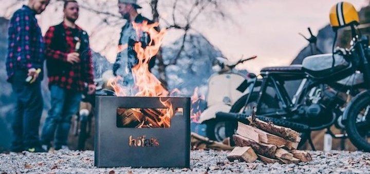 Beer Box mit Feuer Männern und Motorrad 720x340