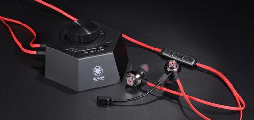 Quake Ohrhörer mit Kontrollstation auf schwarzem Untergrund 520x245