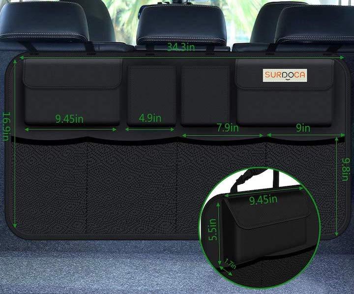 Maße des SURDOCA Kofferraum Organizer