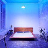 Bett Lampe blaues Licht Tisch Pflanze Fahrrad 160x160