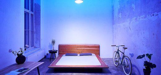 Bett Lampe blaues Licht Tisch Pflanze Fahrrad 520x245