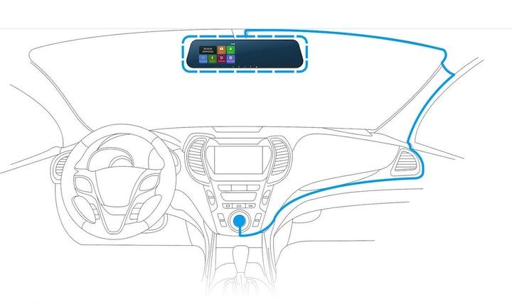 DuDuBell Rückfahrkamera Autoinnenraum Skizze