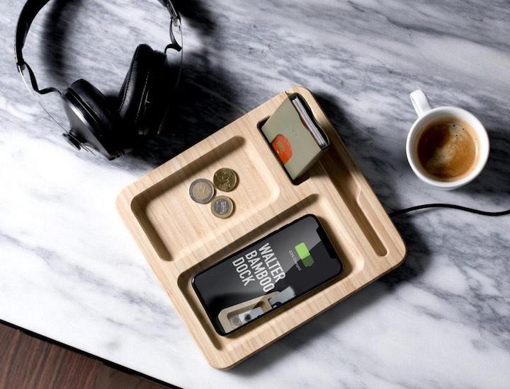 Walter Bamboo Dock Kaffee Smartphone Kopfhörer