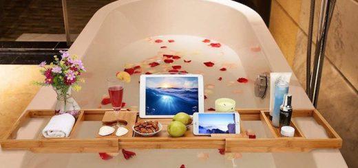 Badewannenablage Badewanne Tablet Smartphone Rosenblätter Sekt Obst 520x245