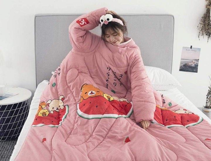 Frau Bettdecke %C3%84rmel Bett pink