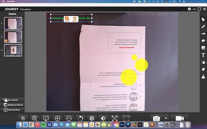 Jourist Software Screenshot auf einem MacBook