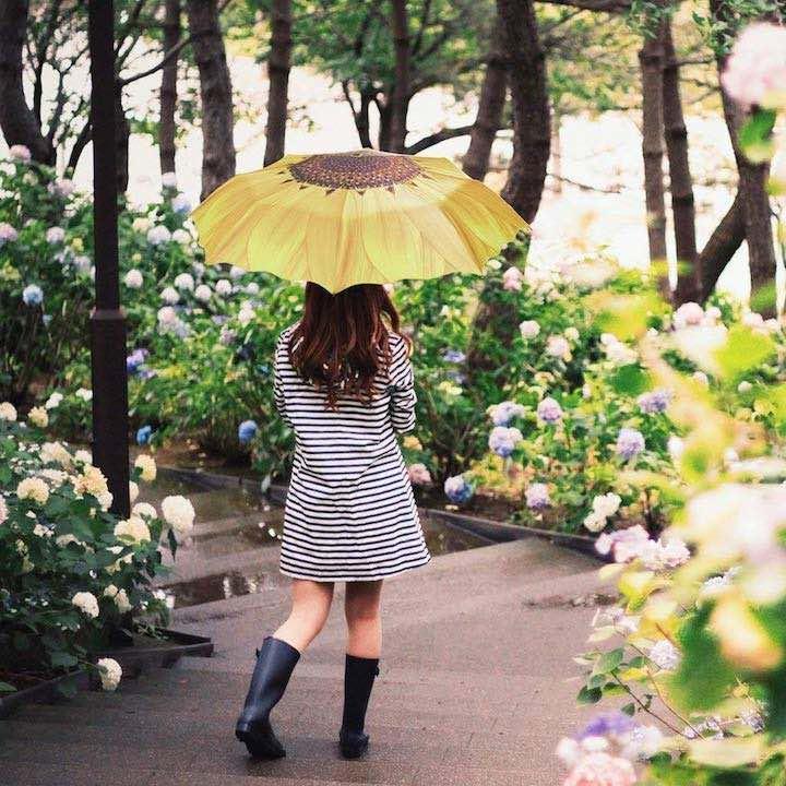 Frau mit Sonnenblumen Regenschirm
