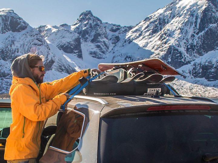 Mann Snowboard ShredRack Auto Berge