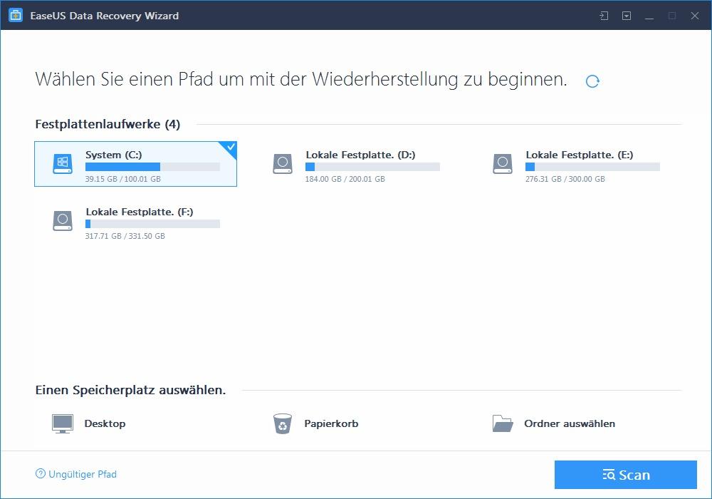 EaseUS Software Laufwerke %C3%9Cbersicht