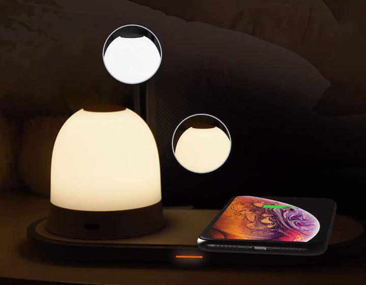 QI Wirless Charger mit Lampe in der Nacht e1574616417808