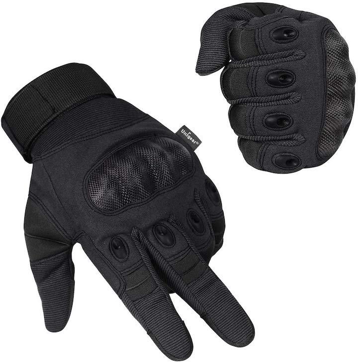 schwarze Motorradhandschuhe