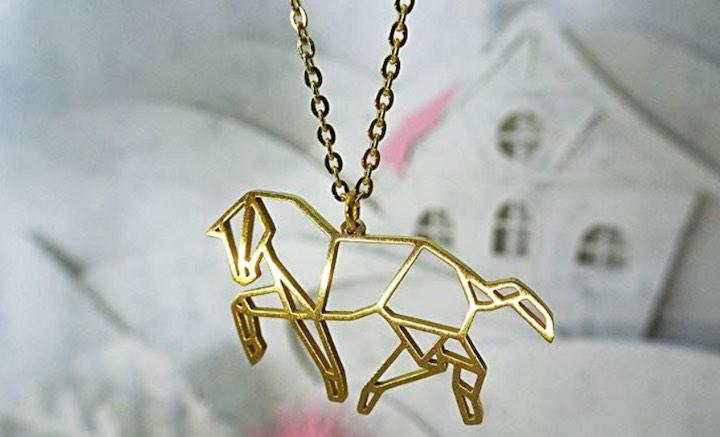 Halskette Origami Pferd vergoldet