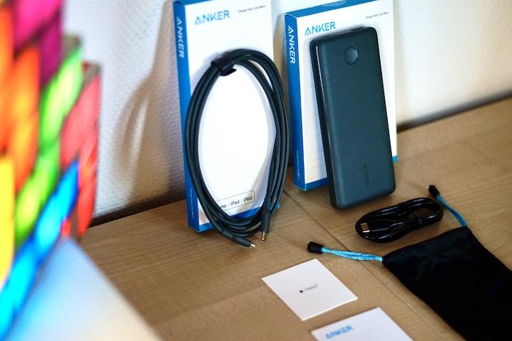 Lampe Lieferumfang Zettel Tasche Powerline II Kabel PD PowerCore Slim Powerbank Anker