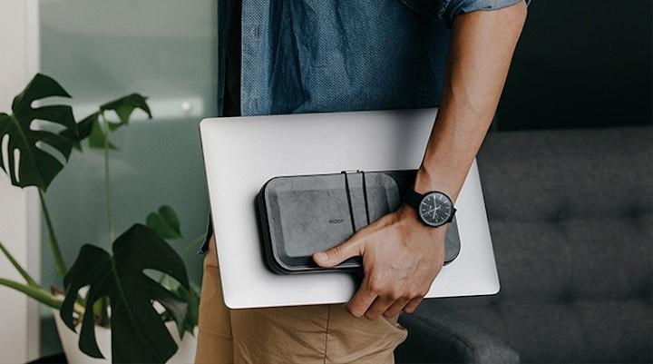 Mann tr%C3%A4gt Organizer und Laptop vor einer Pflanze