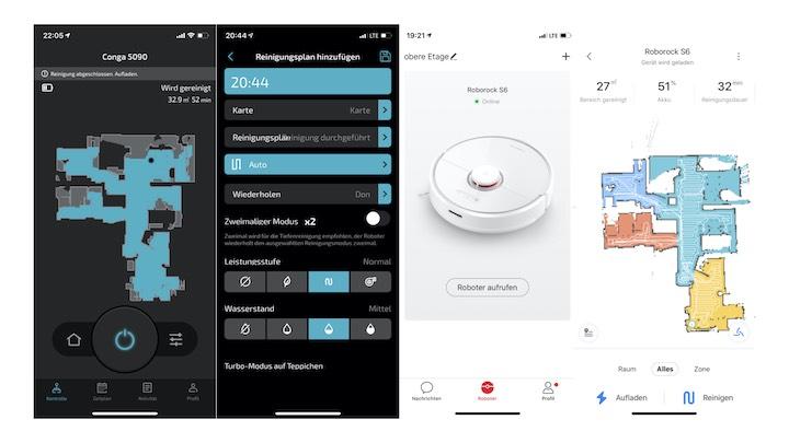 Screenshots vom App Verlgeich zwischen Cecoteoc und Roborock Saugroboter