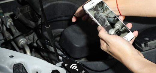WiFi Endoskop im Einsatz im Motorraum