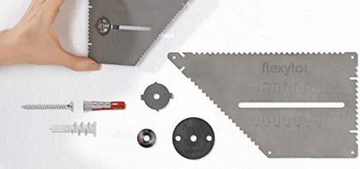 flexilot Pro Bildaufhaenger in einer Hand und Lieferumfang 520x245