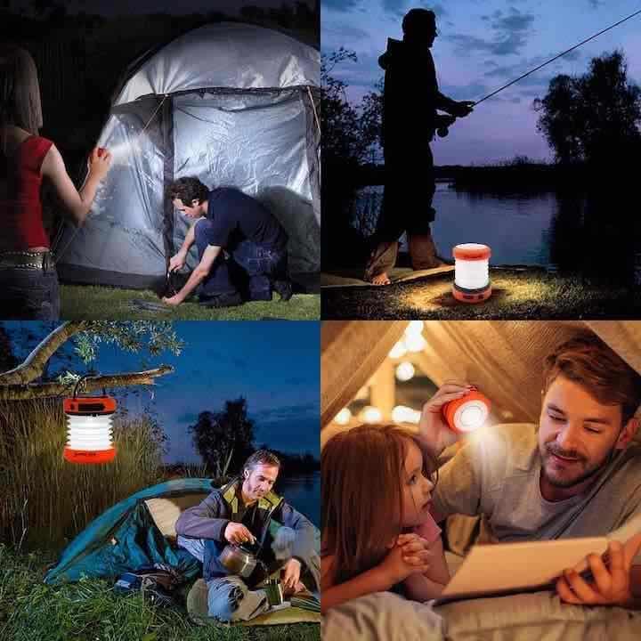 Faltbare Camping Lampe mit Kurbelantrieb Anwendungsbeispiele