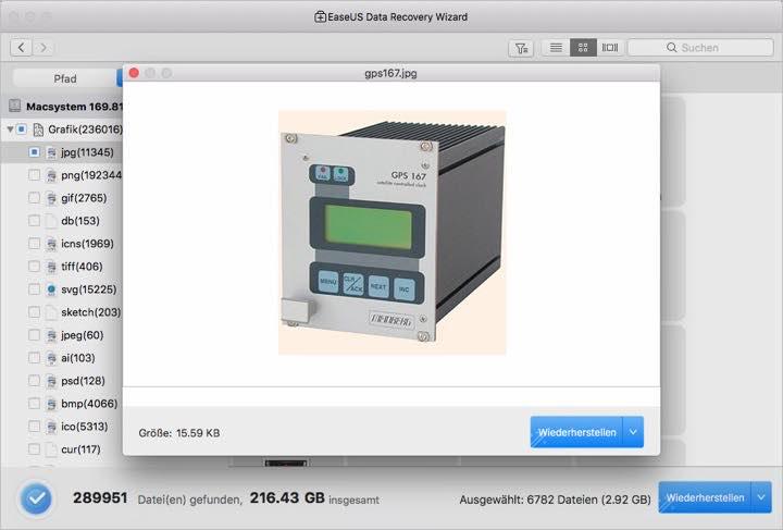 Bildschirmfoto einer Datei Wiederherstellungssoftware