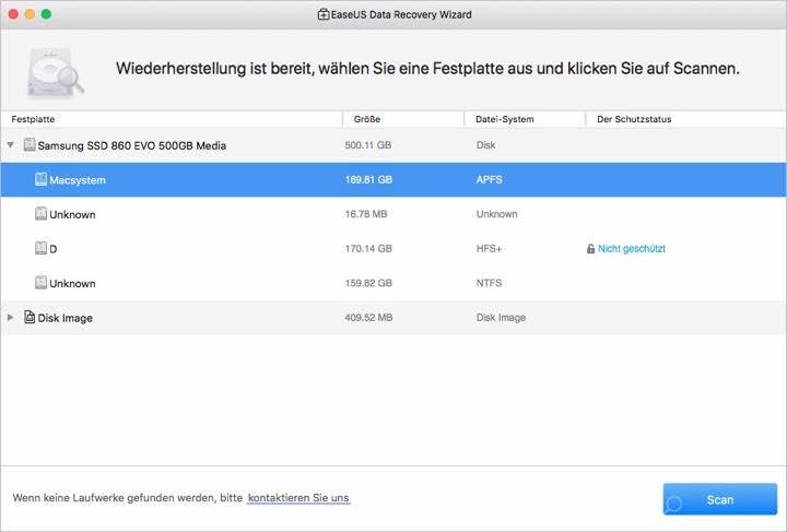 Screenshot der Auswahluebersicht der EaseUS Software