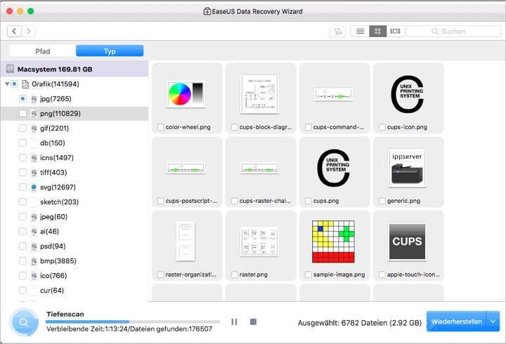 UI Oberflaeche einer MacOS Datei Rettungssoftware