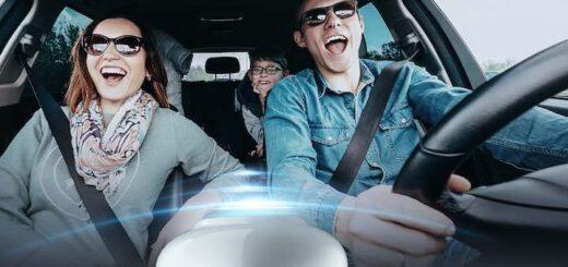 Roxie im Auto mit singenden Menschen