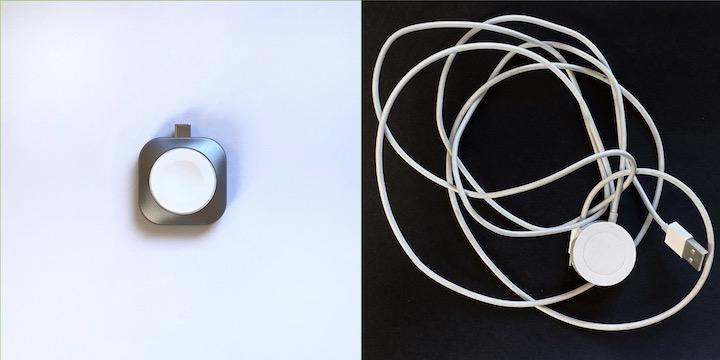 Satechi USB C Charger im Verlgeich zu Apple Watch Ladekabel