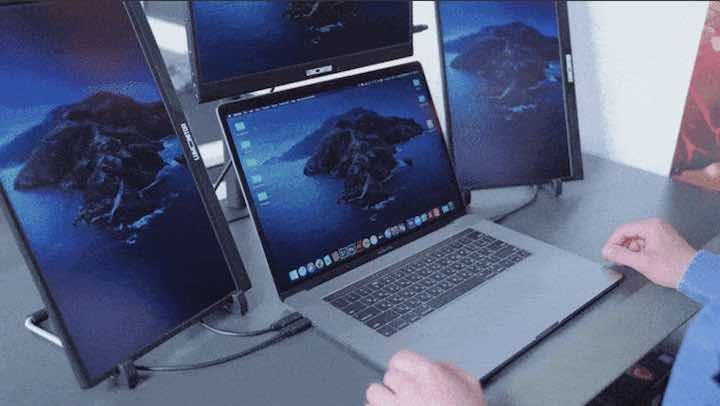 drei monitore zum mobilen arbeiten