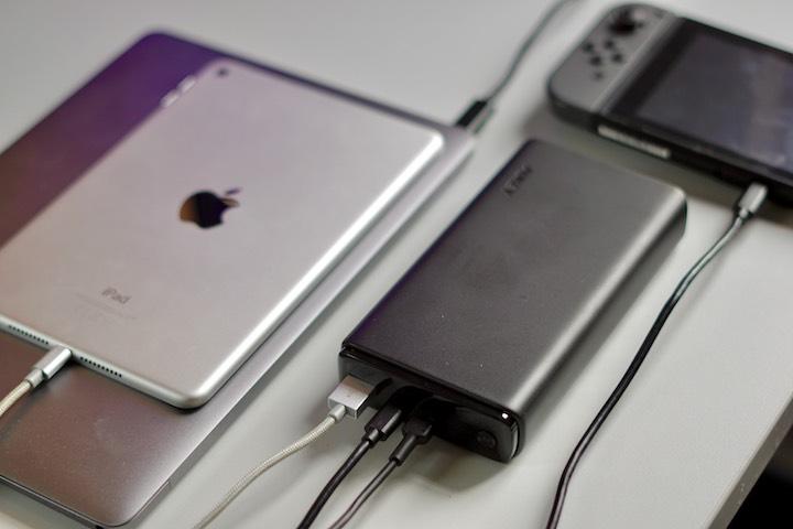 Powerbank mit PowerDelivery laedt iPad MacBook und Nintendo Switch