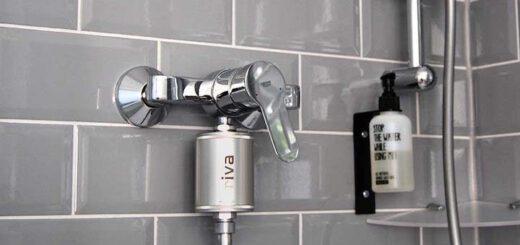 rivaAlva Duschfilter SkinHair an Dusche installiert 520x245