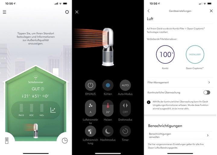 Dyson Link App Screenshot Uebersicht
