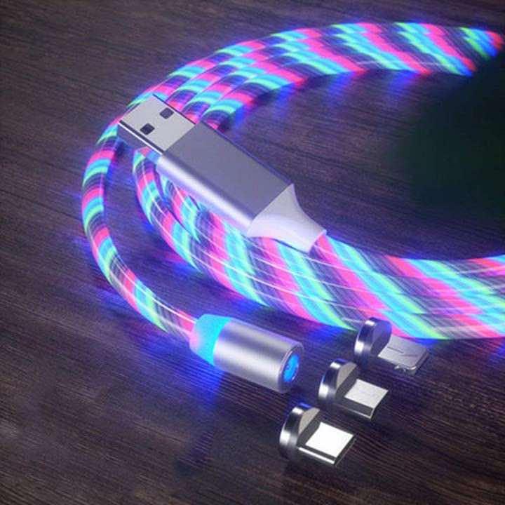 Leuchtendes Ladekabel mit Adaptern