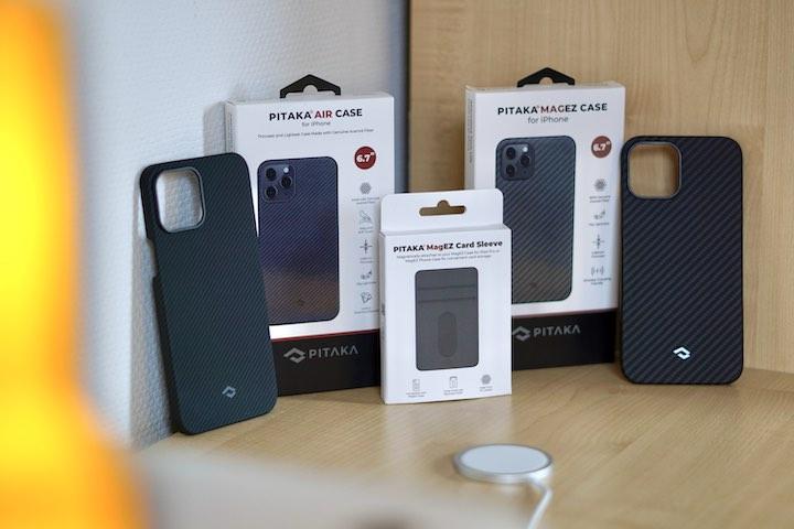Pitaka Cases und Wallet stehen nebeneinander