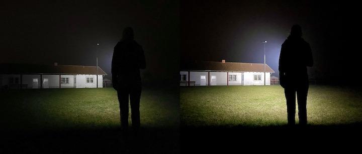 Mittlere und hohe Helligkeit einer Olight Taschenlampe im Vergleich