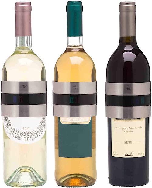 WMF CleverMore Clip Weinthermometer an verschiedenen Weinflaschen