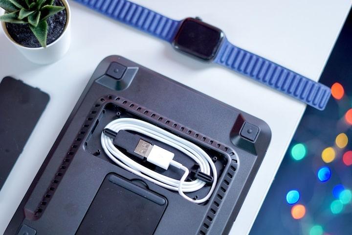 Apple Watch und Pflanze liegen neben einem USB Kabel
