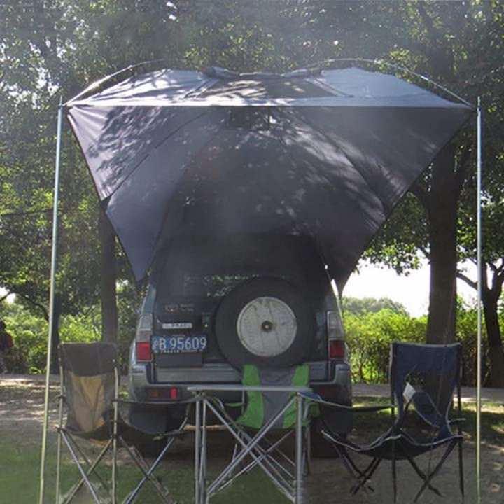 HUKOER Heckklappenzelt mit Campingtisch und Stuehlen