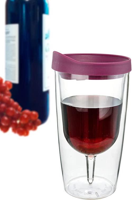 Weinglas To Go gefuellt mit Rotwein