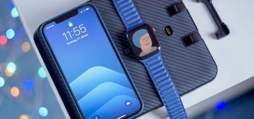 iPhone 12 Pro Max und Apple Watch liegen auf Air Omni Lite und werden geladen  520x245