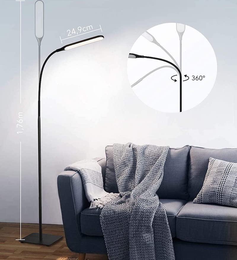 taotronics stehlampe im wohnzimmer mit helligkeitsstufen