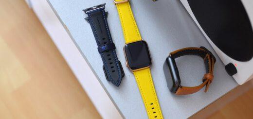 Drei Apple Watch Baender aus Apfel 520x245