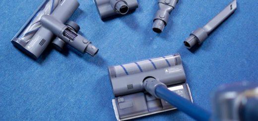 Dreame T20 Pro Staubsauger mit verschiedenen Aufsaetzen auf Teppich 520x245