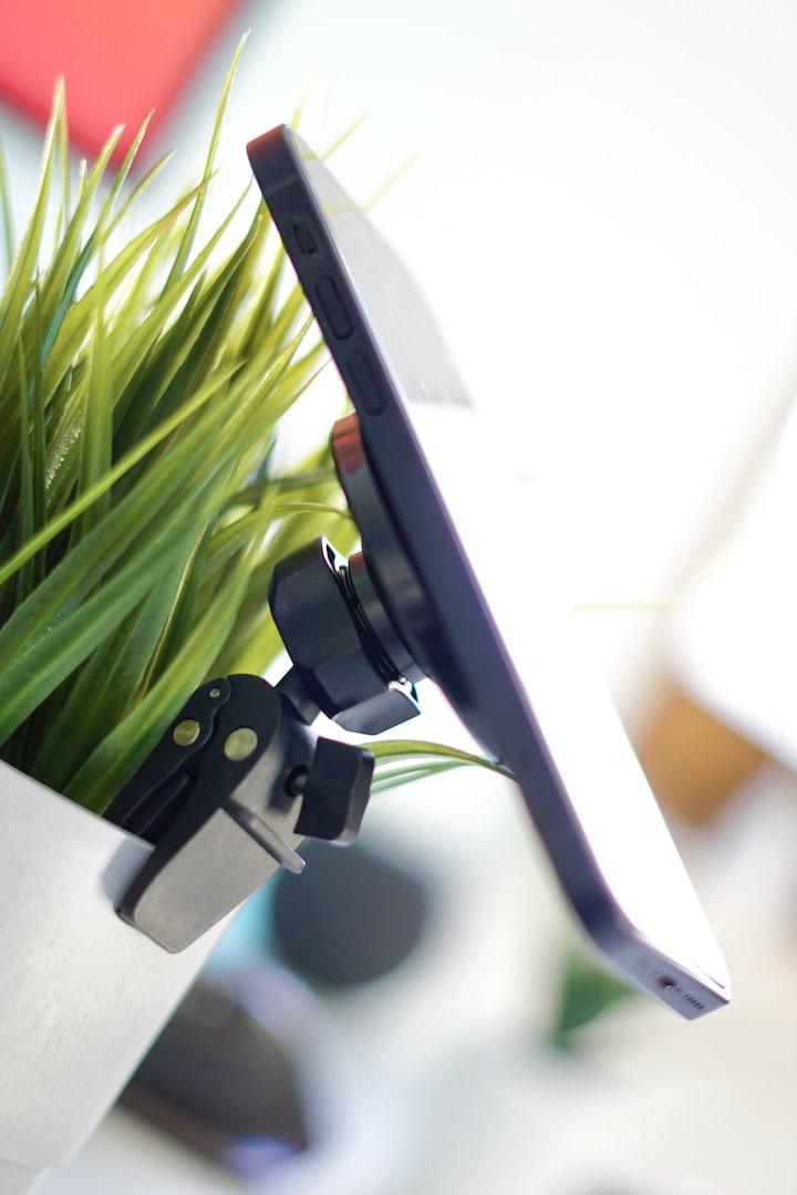 Handy ist mit einer Halterung an einer Pflanze befestigt