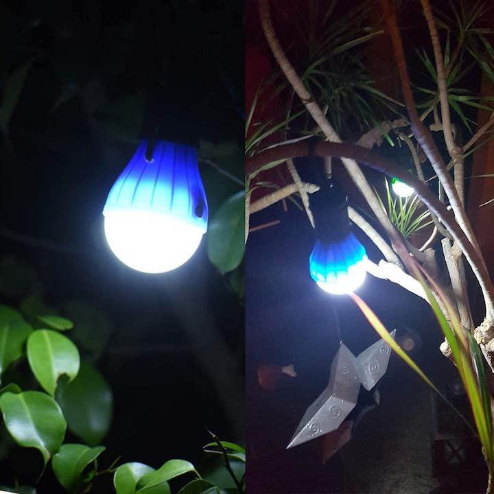 JTENG Camping Lampe haengt in Baum