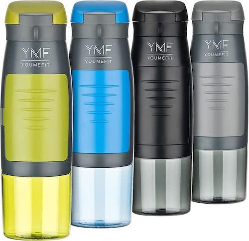 YOUMEFIT Trinkflasche mit Fach in vier Farben