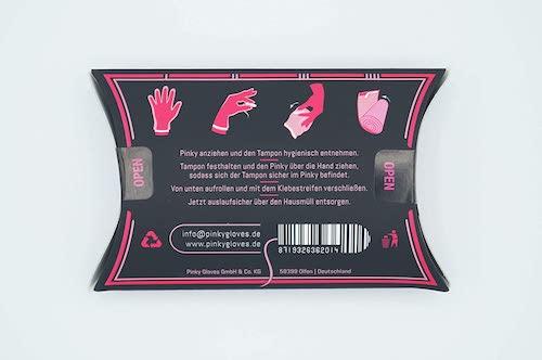 Rueckseite der Verpackung mit Anleitung zum Pinky Hygienehandschuh