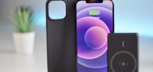 iPhone mit Case und Powerbank steht vor einem blauen Hintergrund mit Pflanze 520x245