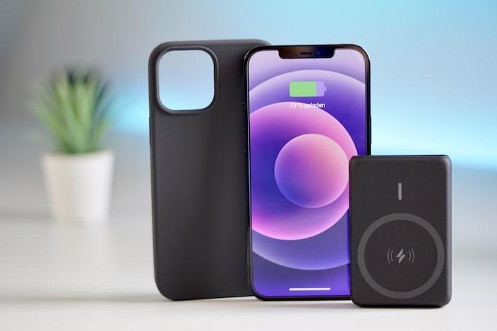 iPhone mit Case und Powerbank steht vor einem blauen Hintergrund mit Pflanze